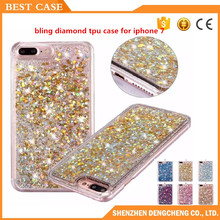 2016 hot sale liquid glitter quicksand active bling diamond tpu phone case for iphone 6 7
