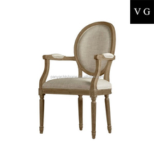 Dining room furniture oak wood material white color fabric wholesale louis chair