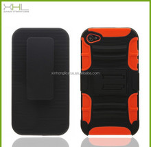 Hot selling streak 3 in 1 sillicone pc phone cases for iphone4 4s with holder,latest mobile phone skin cover