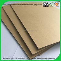 0.45-4mm thickness one side kraft paper laminated grey board