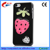 For iphone 6 6lus Flowing Colorized Plastic Rhinestones strawberry Black Hard PC Case