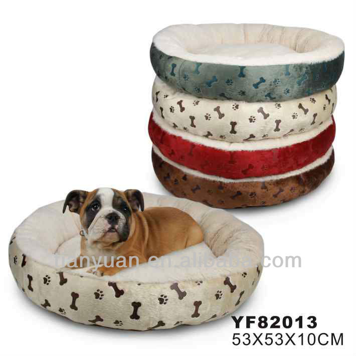 soft plush fur with paws/bones printing dog bed/pet bed
