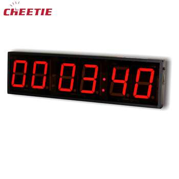 Electronic Wall Mounted 6 Digit 4 Inch 12V Red Green Blue LED Digital Clock in Desk Table Clocks