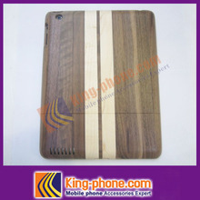 Precision laser cut & engraved natural wood case cover, walnut + maple wood mixed back cover for iPad