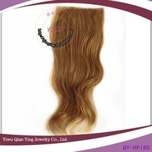 Natural curly light brown clip hair weave extensions long wavy female cosplay wig
