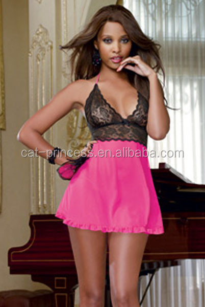 2014 transparent silk babydolls satin nighty, sexy mature pink babydoll