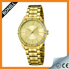 Guangzhou wholesale fashion diamond Geneva stainless steel back geneva quartz watches