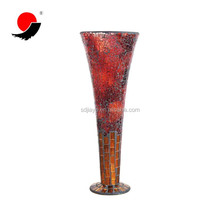 Red Color Trumpet Shape Mosaic Glass Flower Vases with Foot