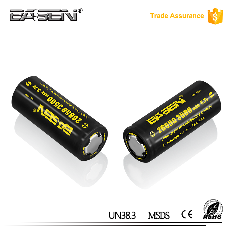 2017 Basen 26650 3500mah 60a rechargeable li-ion battery 3.7v with high current for e-cig, e-bike, e tools