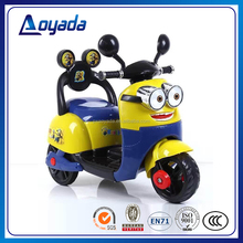 Lovely battery power and ride on style kids motor bike / mini electric motorcycle for kids / minion kids motor bike