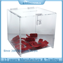 Fashionable Clear donation/suggestion box high quality acrylic donation box custom box stand with logo