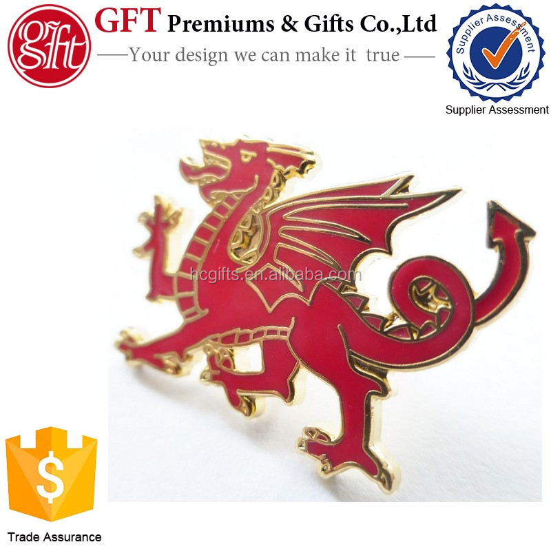 Custom 1 Inch Gold Plated Cloisonne Hard Enamel Metal Welsh Dragon Pin