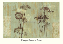 Gris New Design Nature Yetz Collection Pastoral Style Art Deco Theme Pampas Grass of Porto Non-woven Paper Wallpaper