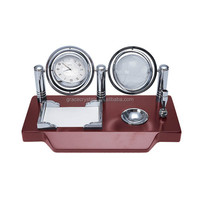 Two globe combined clock wood stand desk wooden clock