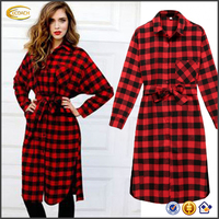 Ecoach Women Lady red and black Plaid Check Shirt Dress spring casual Long Sleeve shirt dress for women