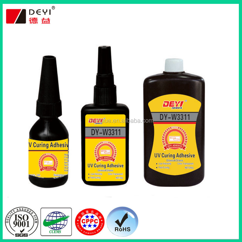 Clear UV light cure adhesive for glass