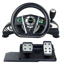 wired USB video game vibration racing steering wheel with foot pedal for PC / X-INPUT /PS23/XBOX 360 game console