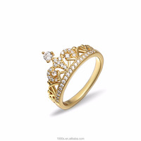 Wholesale Gold Plated Silver Engagement Crown Ring for Women
