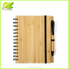 Cheap custom paper notebooks wooden cover spiral notebook with pen