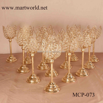 2018 New crystal champagne gold lotus crystal candle holder candelabra weddings decorations wedding table centerpieces(MCP-073)