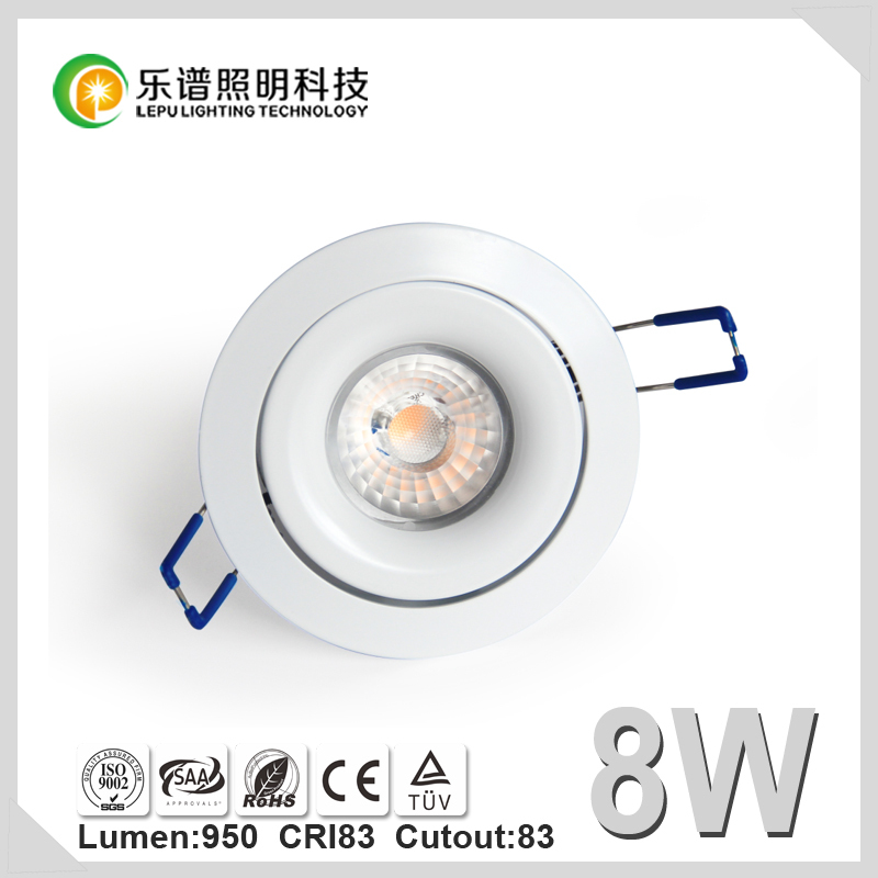 Hot Sale Factory Cutout 83mm Viking Lens CE RoHS SSA Lamp Bulb Light CRI 85Ra CCT 2700K Dimmable Sharp COB 8W LED Downlight