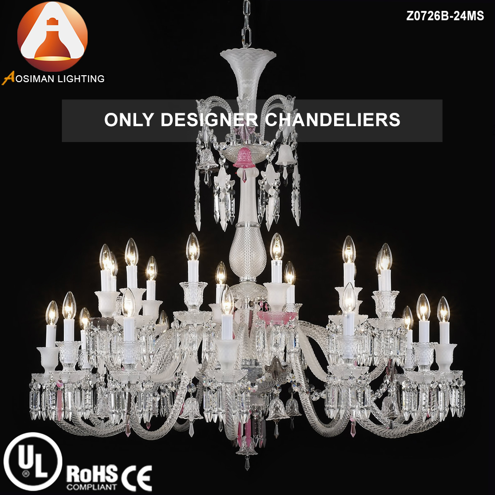 24 Light Multi Color Baccarat Chandelier with Clear Crystal