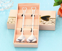 2PCS Set gift box packing stainless steel silver Love Heart Spoon fork set Wedding souvenirs