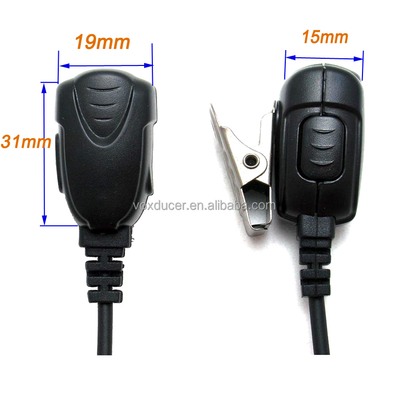 [ES180242] hot sale Curl wire In-line mic on side PTT button spy earpiece for walkie talkie cellphone OEM item style customized