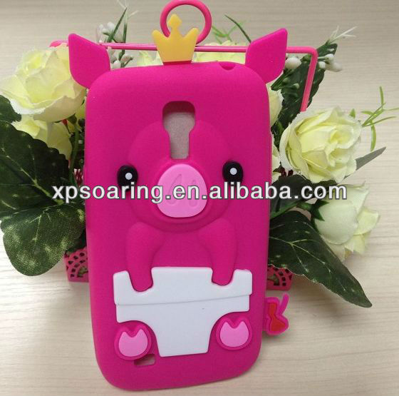 Designed silicone case for Samsung galaxy s4 mini I9190 pig designed