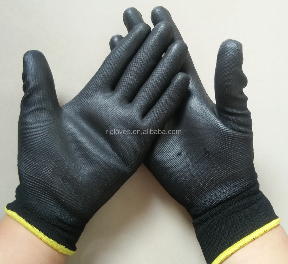 nylon black pu gloves for PPE safety suppliers