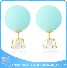 2015 Hot Sale Candy Color Double Side Stud Earrings Baroque Pearl Ball Earrings