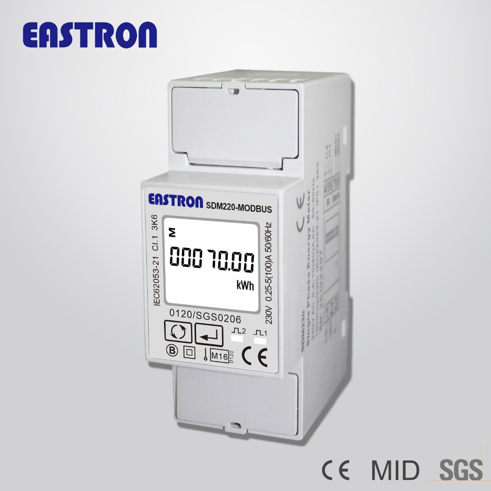SDM220-Modbus MID Certified Single Phase DIN Rail Energy Meter 2P kWh meter,DIN-Rail Modbus Energy Meters