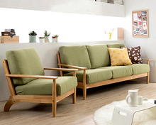 Foshan factory directly Northern Europe wooden sofa set Japanese design living sofa