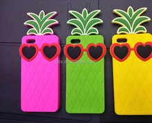 Wholesale - New Arrival Hot Sales Lady Pineapple Sunglasses Skin Silicone Case Cover for iPhone 5 5G