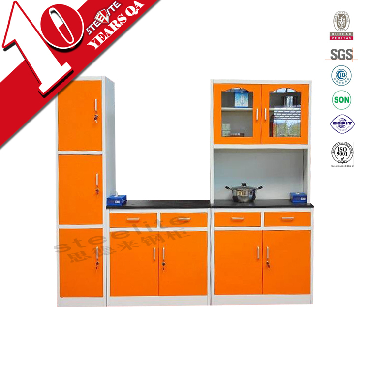 High gloss steel kitchen furniture modular wall units for 3 piece metal kitchen units