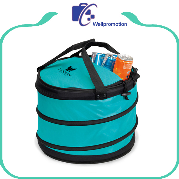 Round collapsible barrel cooler lunch bag