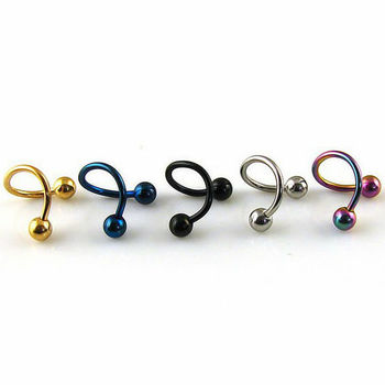 Wholesale colorful stainless steel spiral nose ring body piercing