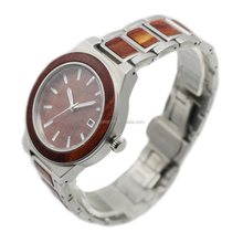 Quality Assurance Custom Luxury Automatic Couple Watches Stainless Steel Wood Wrist Watches Men Manufacturer