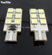 12v Two sides 12smd Car Universal lighting led 5050 smd led T10 canbus led car light auto led clearance lamp led bulb