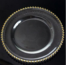 Wholesale New Gold Silver Glass beaded Charger Plate for wedding decoration