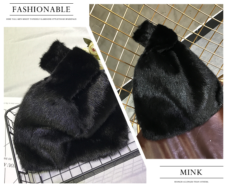 Newly beautiful high quality warm thick genuine mink fur handbag for women
