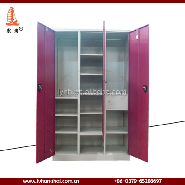 Bedroom furniture steel wardrobe cold rolled steel 3 mirror door steel wardrobe cabinet