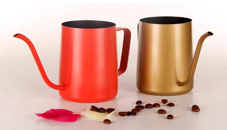 Security Payment Powder coated Stainless Steel Drip Coffee Pot with small mouth