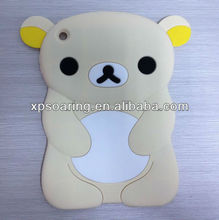 high quality Cream bear silicone case skin cover for mini ipad