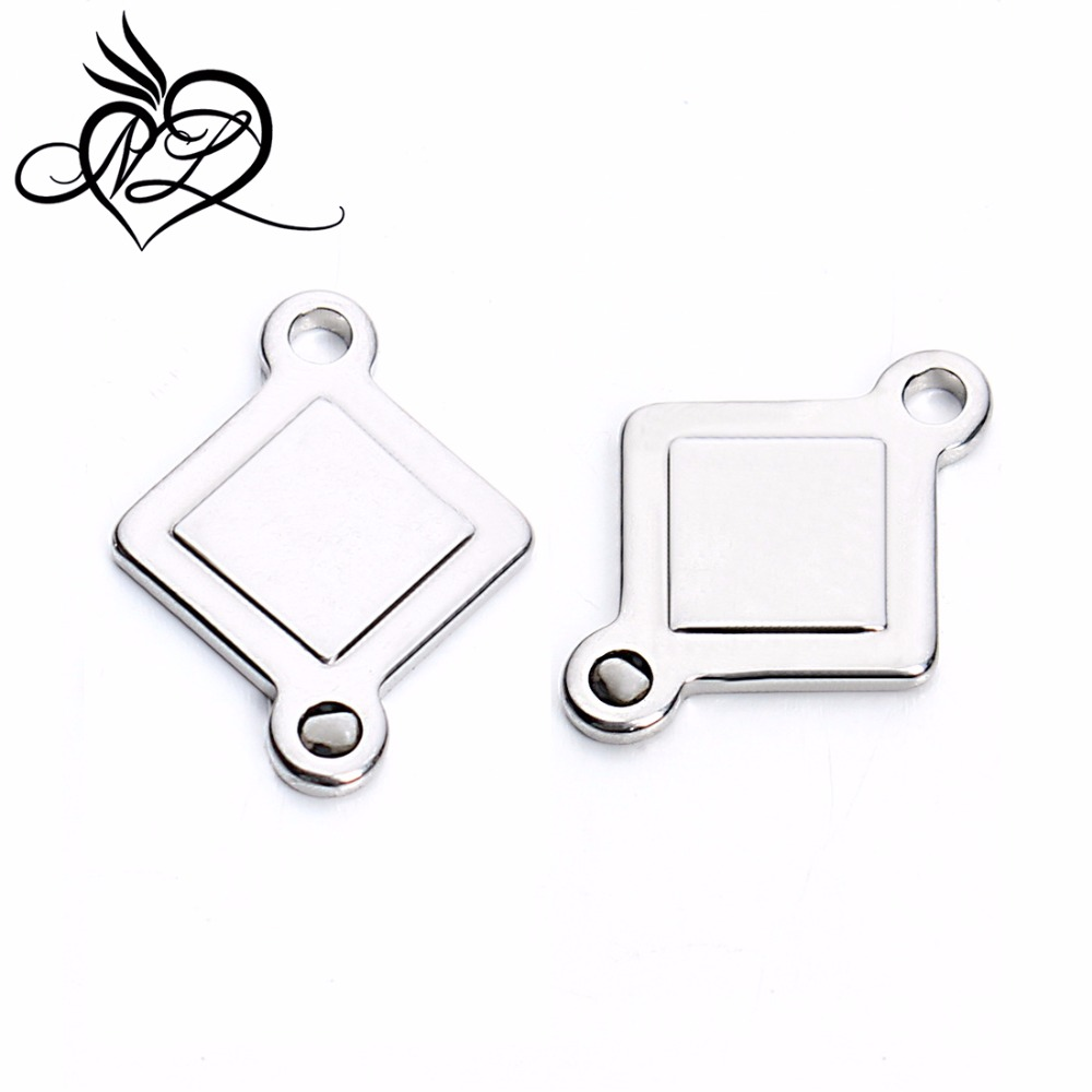 Stainless steel rhombus charm with two holes for bracelet making