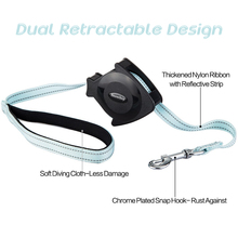 New Design Chew Proof Heavy Duty Flexible Two way Dual Retractable Dog Leash