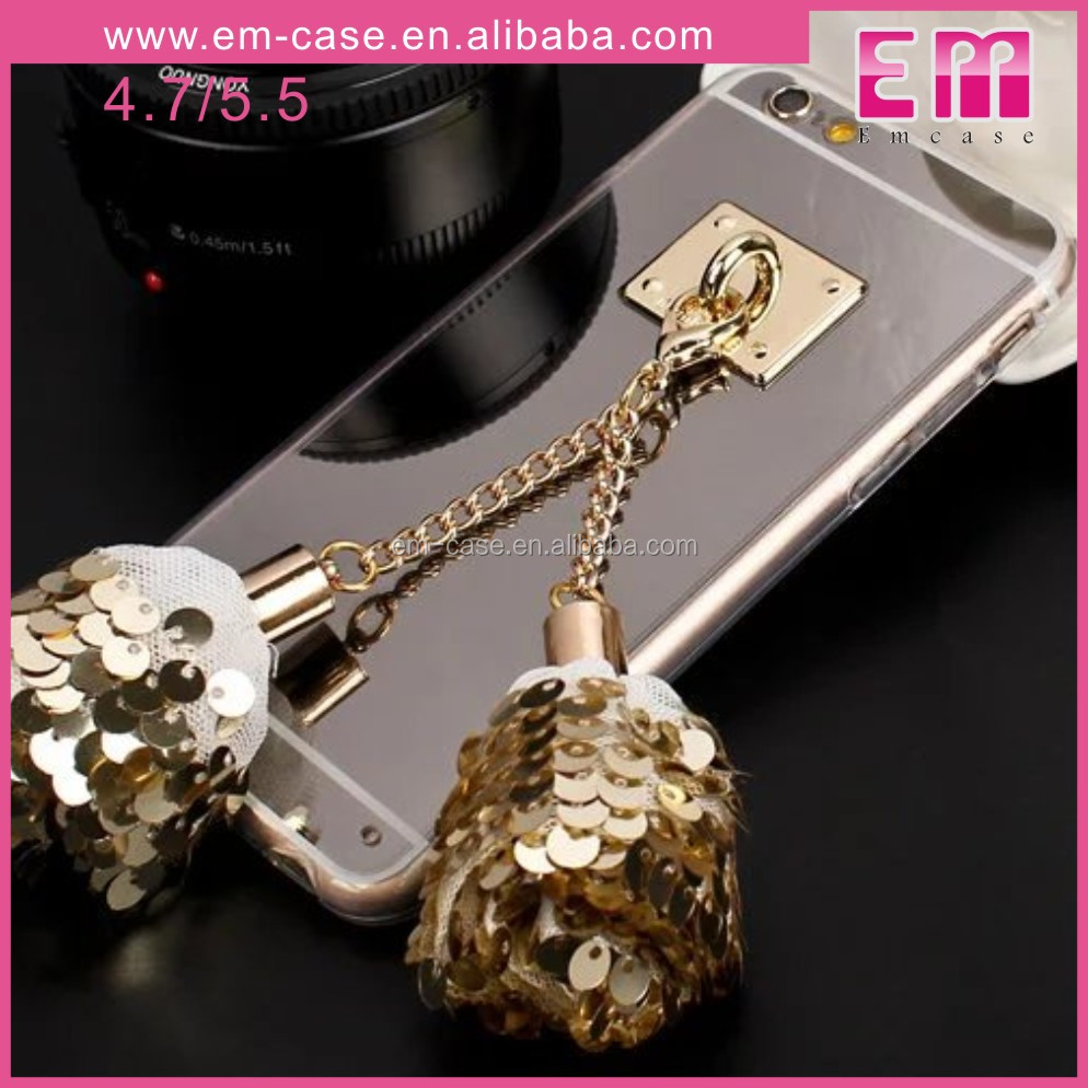 Luxury Bell Tassel Design Skin For iPhone5 5S Phone Case Mirror TPU Cell Phone Cover