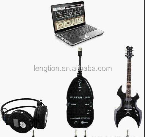 "Electric Guitar to USB Interface 1/4"" Audio Link Cable MP3 MP4 Recording for PC"