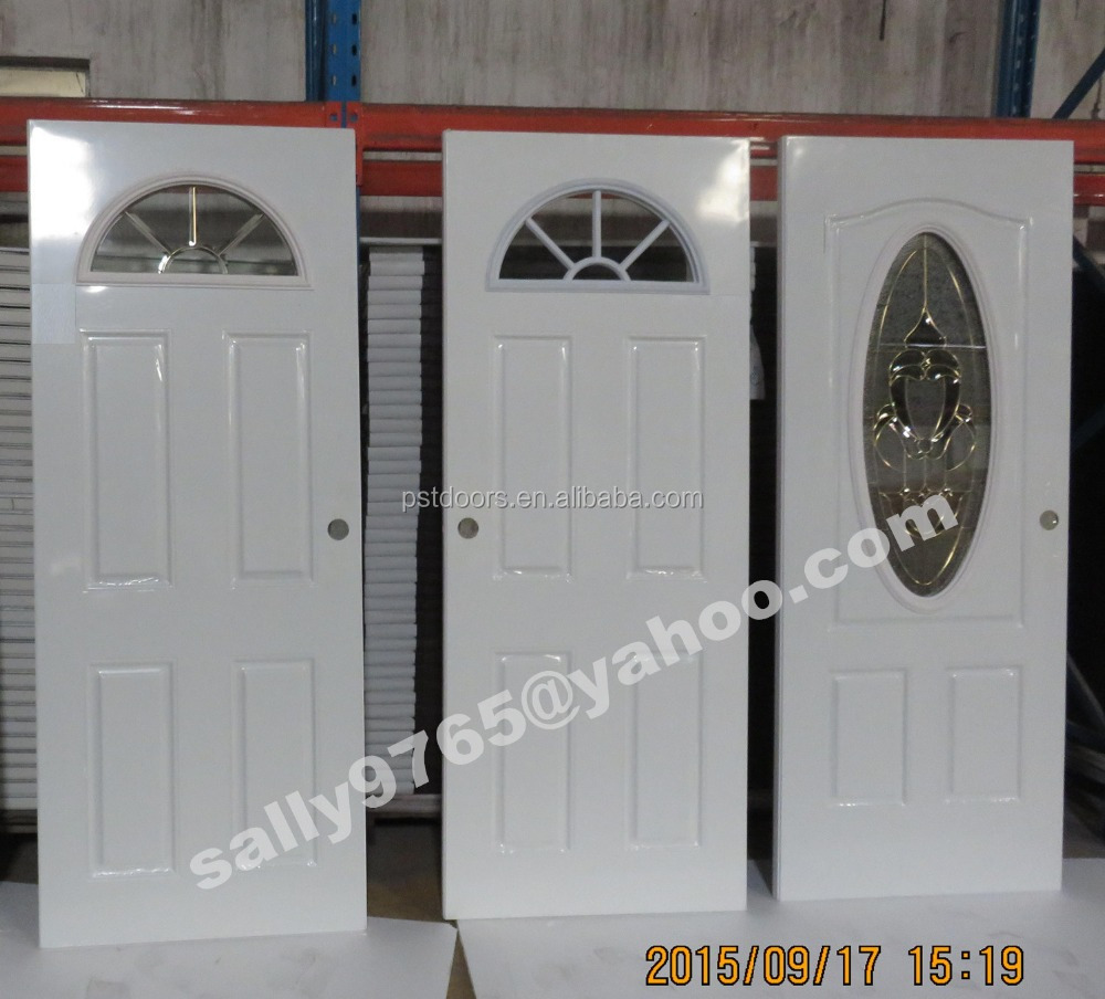 Safety residential iron steel entry doors with glass for Glass entrance doors residential
