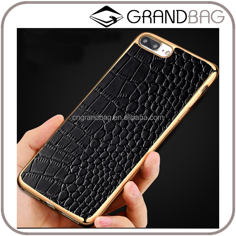 New arrival handmade phone accessories soft embossed crocodile leather phone case for iphone 7/7 plus
